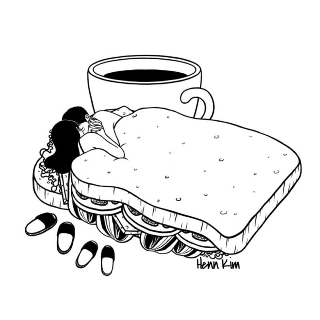 Illustration of a women and a man in a sandwich bread
