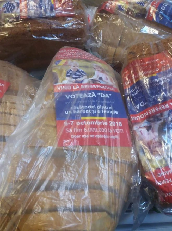 vote yes leaflet in a bread packaging