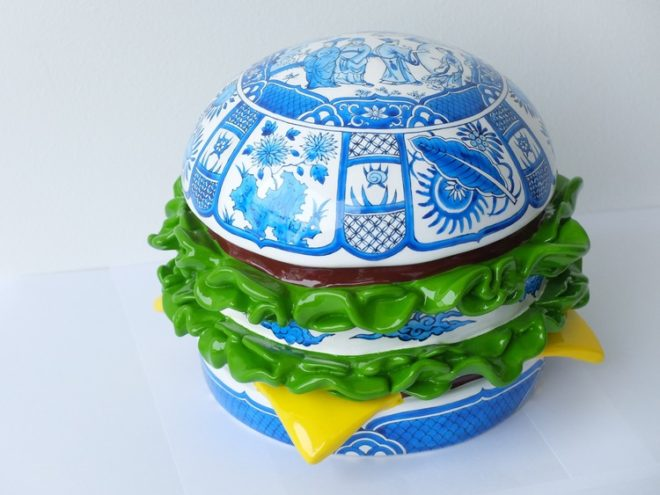 Burger artwork made from resin